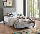 Crown Mark Upholstered Panel Bed in Gray, with Nailhead, Twin