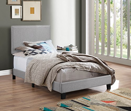 Crown Mark Upholstered Panel Bed in Gray, with Nailhead, Twin (Twin Frame Bed Fabric)
