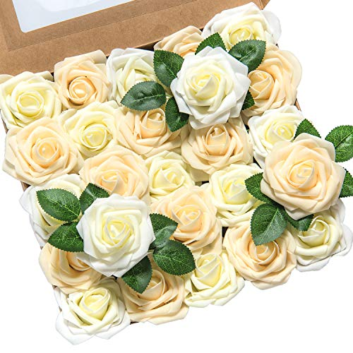 Lings moment Artificial Flowers 25pcs Real Looking Ivory Cream Heirloom Roses w/Stem for DIY Wedding Bouquets Centerpieces Bridal Shower Party Home Decorations