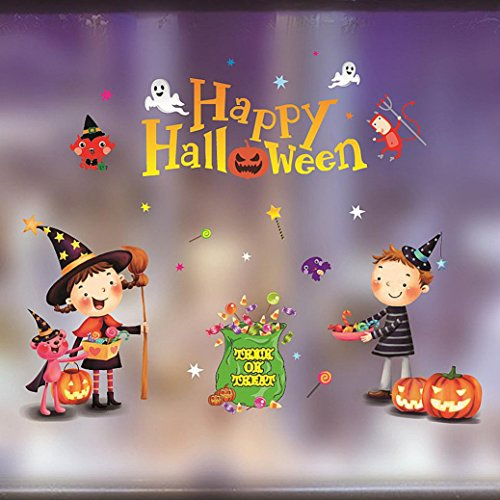 Iuhan Happy Halloween Paste Decorations Sticker For Home Shopping mall Bar KTV Static Window Glass - Mall Springs Map Coral