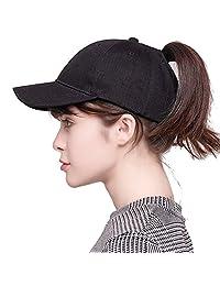 FCX-Fashion Women Ponytail Baseball Cap Sequin Messy Bun Snapback Sun Mesh Hat