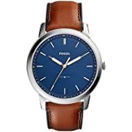 Fossil Men's The Minimalist Quartz Stainless Steel and Leather Casual Watch, Color: Silver-Tone,...