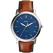 Fossil Men's The Minimalist Quartz Stainless Steel and Leather Casual Watch, Color Silver-Tone, Brown (Model: FS5304)