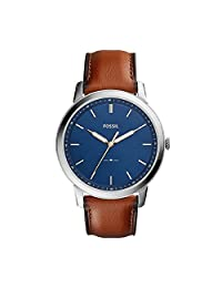 Fossil Men's The Minimalist Quartz Stainless Steel and Leather Casual Watch, Color: Silver-Tone, Brown (Model: FS5304)
