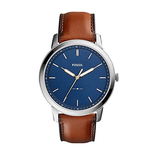 Fossil Men's The Minimalist Quartz Stainless Steel and Leather Casual Watch, Color: Silver-Tone, Brown (Model: - Leather Watch Fossil Band