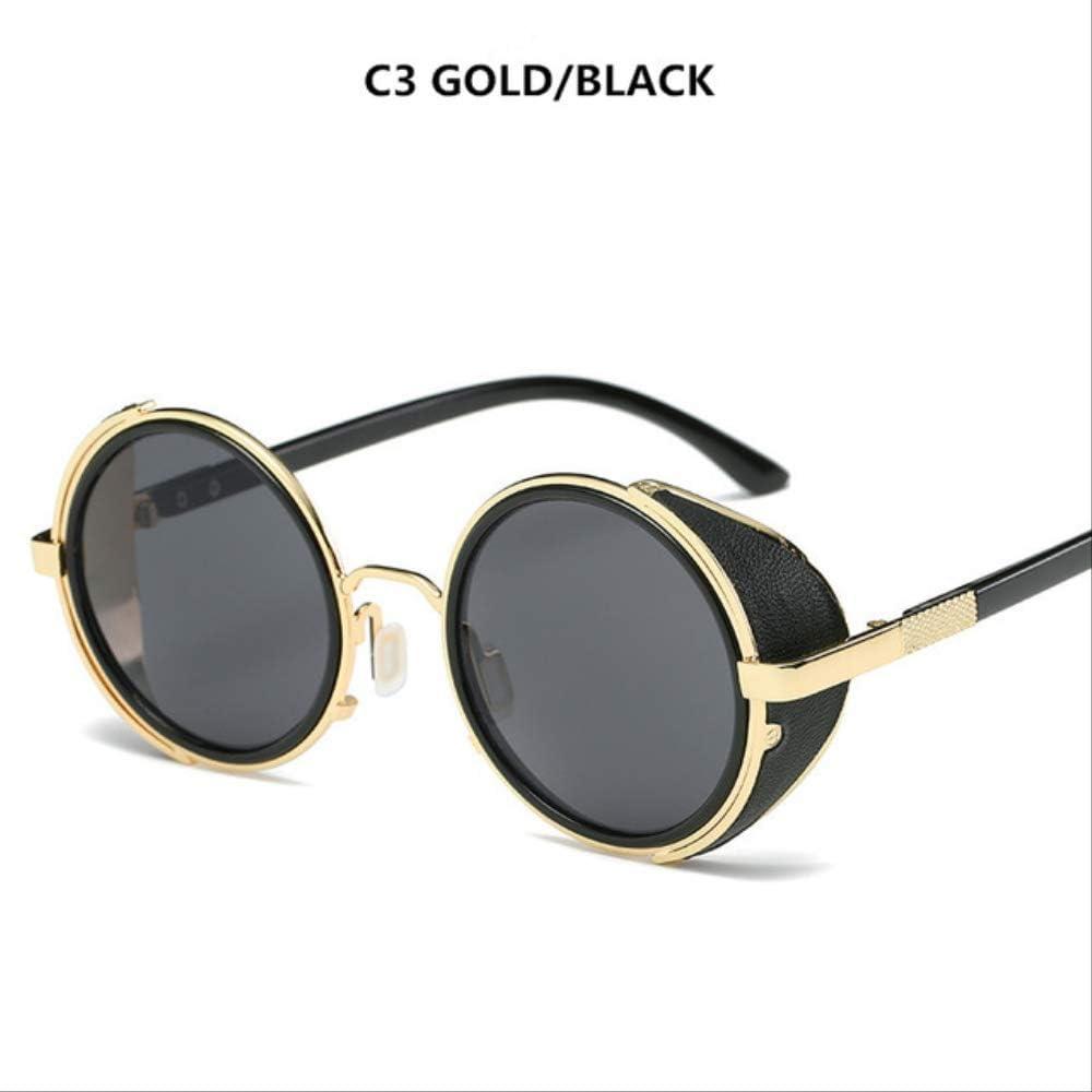 YMKWQF Gafas De Sol Mujer Gafas Redondas Gafas Hombre Visera Lateral Lente Circular Unisex Estilo Retro VintageOro Negro