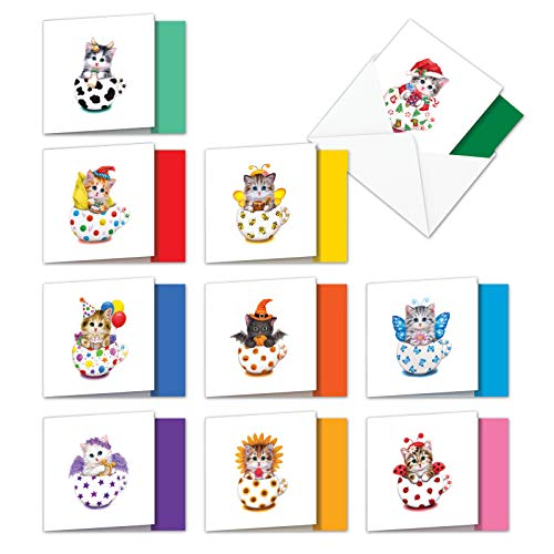 AMQ6414XXG-B1x10 Purr-fect Cats: 10 Assorted Set of New 'Square-Top' Mixed Occasions Note Cards Adorable Teacup Cutie Kittens with Mixed Holiday Themes, with Envelopes 4 x 5.12 inch Angel Cat Greeting Card