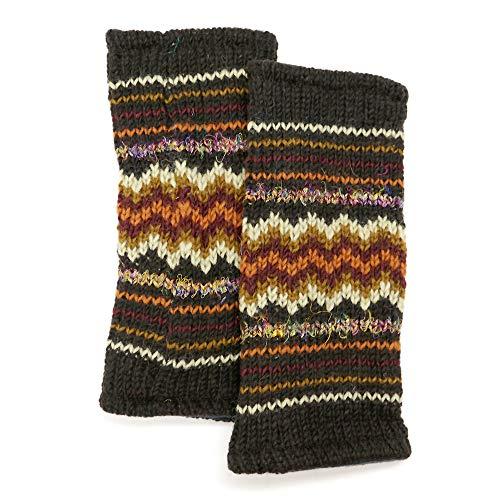 CFrost Women's Hand Knit Zig Zag Fuzz Fingerless Arm Warmer Gloves by C Frost (Image #2)
