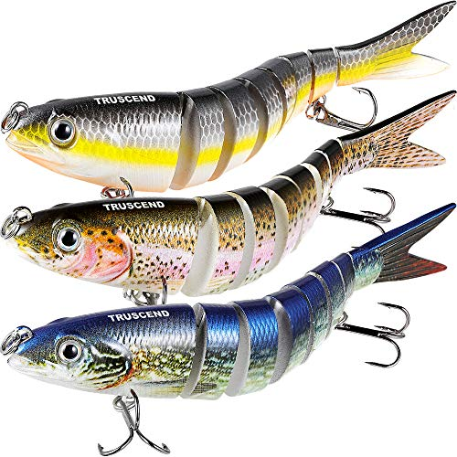 (TRUSCEND Fishing Bass Lures Multi Jointed Topwater Life-Like Trout Swimbait Hard CrankBaits (S-8-Combo-S))