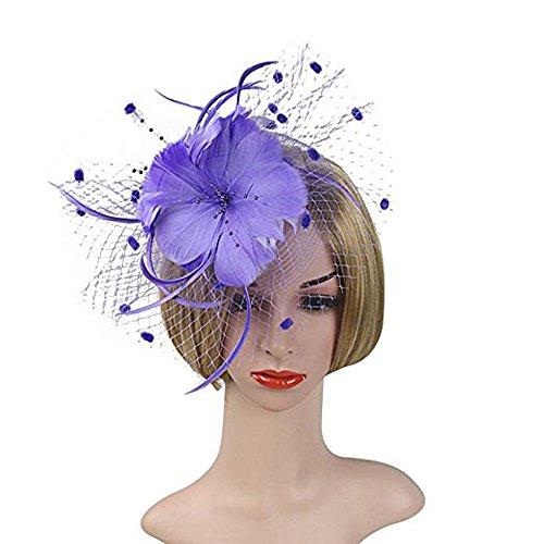 Hilary Ella Charming Netting Mesh Headband Feather Big Flowers Hair Band Party Girls Women Wedding Bridal Fascinator Cocktail Hat