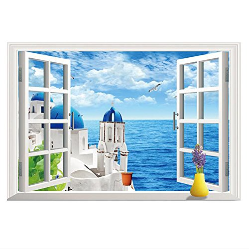 Kaimao Romantic Aegean Sea 3D Window Decal Wall Sticker Art Murals Removable Wallpapers for Home - Friends Wallpaper Blue Border