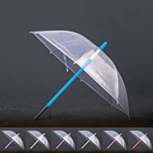 Brustlife Transparent Fabric LED Lightsaber Umbrella FlashLight in the Easy Grip Handle Golf Umbrellas with 7 Colors Sword Light up Changing on the Shaft Built in Torch at Bottom