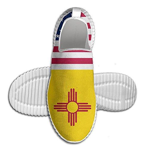 Ägg Ägg Usa New Mexico Flagga Kvinna Man Loafers Löparskor Andas Mesh Utomhus Sport Promenadskor Vita
