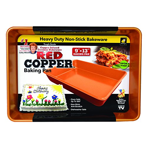 Red Copper 9 inch x 13 inch Cake Pan by BulbHead