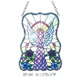 HF-306 Tiffany Style Stained Glass Angel Girl Window Hanging Glass Panel Sun Catcher, 24.5''Hx18''W