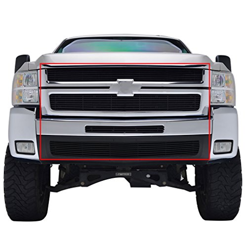 E-Autogrilles Black Aluminum Billet Grille without Tow Hooks Combo Kit (Includes Grille/Center Bumper/Lower Bumper Inserts) for 07-10 Chevrolet Silverado 2500HD/3500HD (36-6105B)