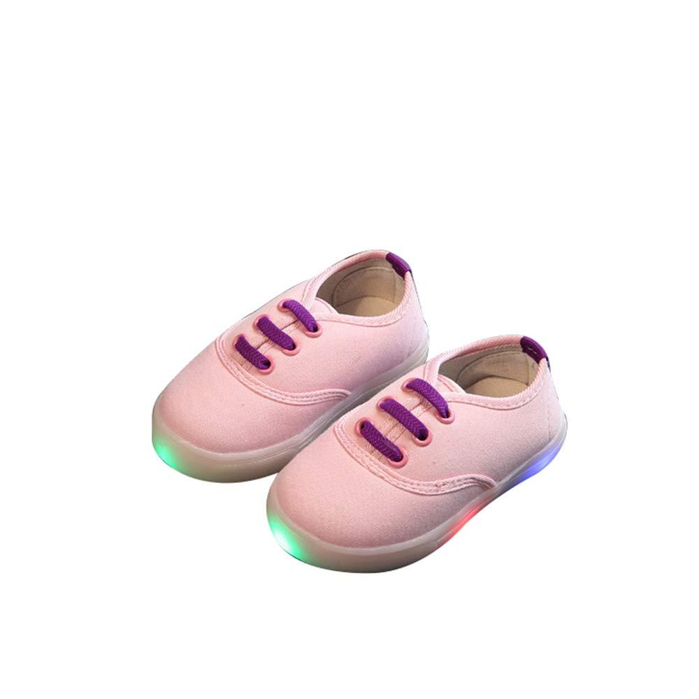 edv0d2v266 Children Kid Girls Boys Led Light Star Luminous Sport Mesh Student Casaul Shoes(Pink 25/8.5MUSToddler)