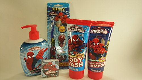 Spider-man 5 pc Grooming Bundle Gift Set Fruit Punch Body Wash and Shampoo, Hand Soap, Toothbrush w/ Cap & 1 Magic Spiderman Towel Comes from Multi