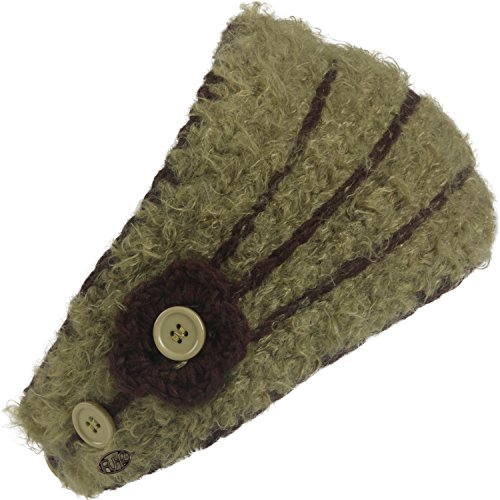 FU-R Headwear Women's Flora Hand Knit Lightweight Headband, Moss, One (Fur Crocheted Hat)
