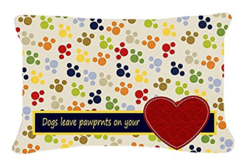 Caroline's Treasures Dogs Leave Paw Prints On Your Heart Canvas Fabric Decorative Pillow, Large, Multicolor