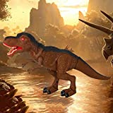 Tomatoa Remote Control Dinosaur Toy Dinosaur Electronic Toy Moving & Walking Sounds & Chomping Mouth LED Light Up for Boys Girls 3 4 5 6 7 8 9 10 11 12 Years Old (Brown)