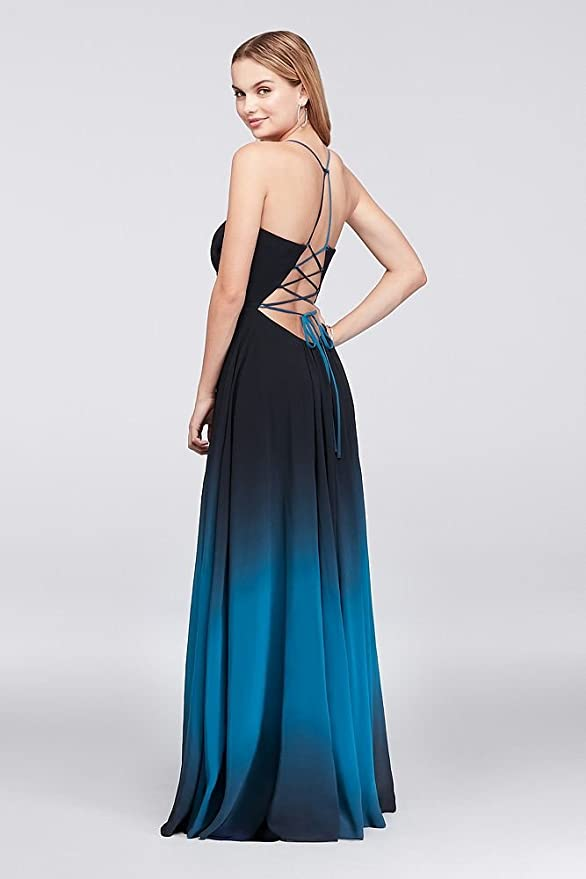Davids Bridal Ombre Chiffon Halter A-Line Prom Gown Style A20299 - Blue -: Amazon.co.uk: Clothing