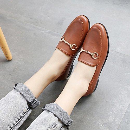 Meeshine Damen Leder Loafer Comfort Schnalle Slip On Schuhe Pelzfutter Braun