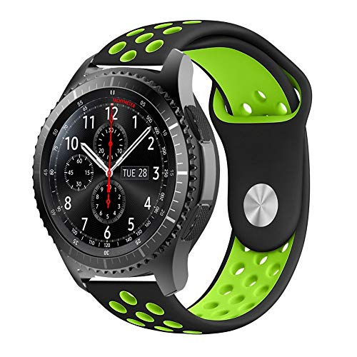 iBazal Gear S3 Watch Band 46mm,22mm Silicone Sport Band,Soft Replacement Band with Ventilation Holes for Samsung Gear S3 Frontier/Classic,Samsung Galaxy Watch - Black/Green ()