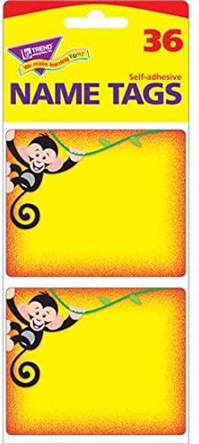 Amazon Com Trend Enterprises Inc More Monkey Mischief Name Tags Office Products