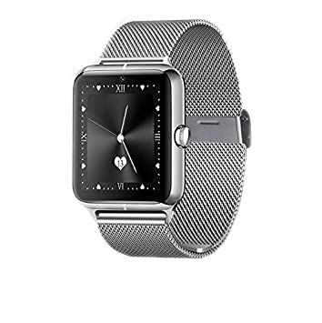 DROMATEC® Fashion-S Argent montre connectée bluetooth compatible android et iphone montre intelligente carte