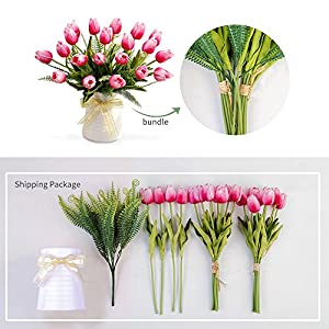 YILIYAJIA Artificial Tulips Flowers with Ceramics Vase Fake Tulip Bridal Bouquets Real Touch Flowers Arrangement for Home Table Wedding Office Decoration 3