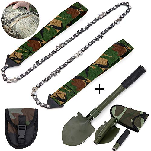 Pocket Chainsaw with Handles, 24 Inch Pocket Chainsaw, Pocket Saw Chainsaw, Camouflage Rope Saw Tree Saw High Limb