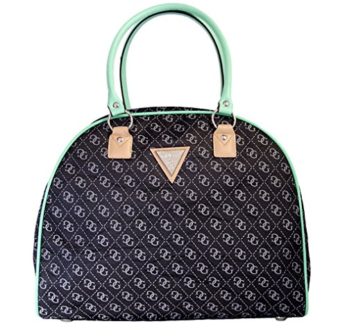 guess-woodhaven-dome-travel-tote-bag-handbag-black-grey