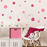 Set of 130 Pink and Dark Pink Polka Dots Circles Wall Decor Graphic Vinyl Lettering Mural Decal Stickers Kit Peel and Stick Appliques