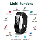 Fitness Tracker, Waterproof Activity Tracker Heart Rate Monitor Bluetooth Smart Watch Bracelet Wristband Sleep Monitor Pedometer with Replacement Strap for Android and IOS Smartphone (black-blue)