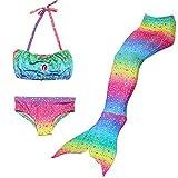 Anbaby Girl's 3 Pcs Mermaid Tail Swimwear Children Mermaid Clothing Cosplay Bikini Swimsuit Rainbow Style2 150CM
