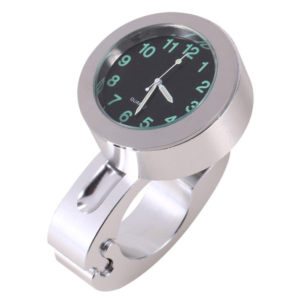 Qiilu Numé rique Horloge Numé rique de Montage de Moto Guidon Etanche 7/8'-1' Argent