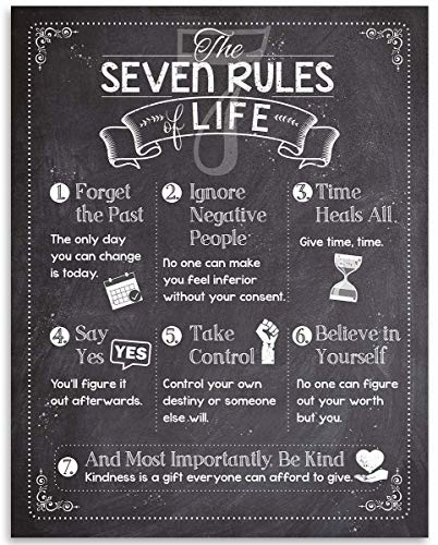 7 Rules of Life Motivational Art Print- 11x14 Unframed Art Print - Great Inspirational and Motivational Gift and Home and Office Decor Under $15