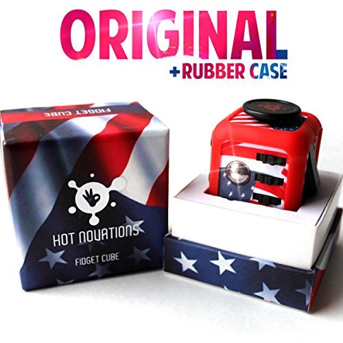 Fidget Cube The Original Stress Relief Focus Toy With Silicone Frame Case, USA Flag Cover, Anti Anxiety Hand Gadget, Best Gift Toys For Relaxation, Adults, Kids With Autism, ADHD, Office Figit Dice