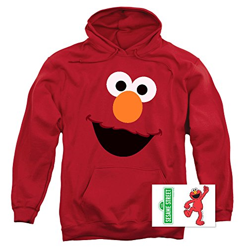 Sesame Street Elmo Face Pull-Over Hoodie Sweatshirt (Small)