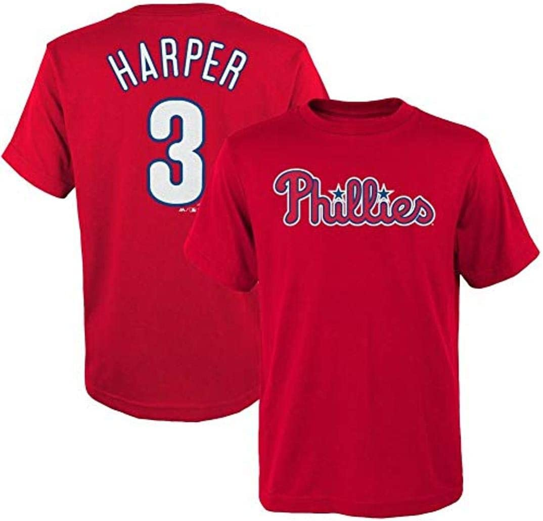 Outerstuff Bryce Harper Philadelphia Phillies MLB Majestic Youth Player Name /& Number T-Shirt