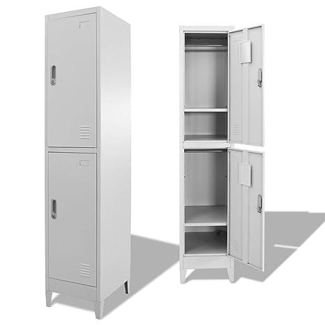 Festnight Mueble Archivador Armario de Oficina Acero con 2 Compartimentos,38x45x180 cm (Tipo 2