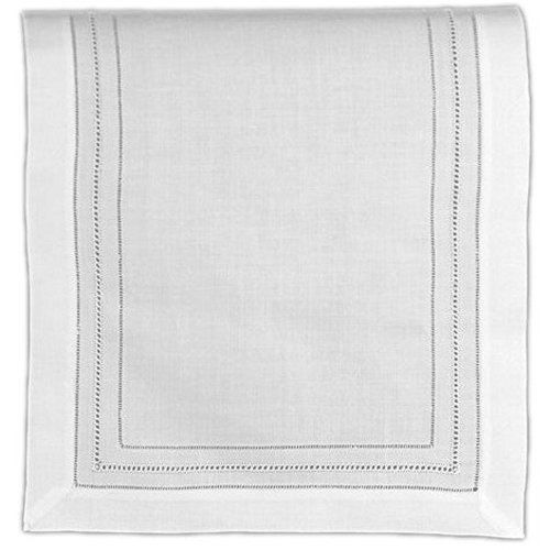 Mauve Elegance Round Tablecloth - Table Runner White Pure Linen Cloth with Gilucci and Hemstitch Ladder Borders 16 X 45 Inch