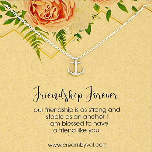 (Friendship Forever Anchor Sterling Silver Necklace - 17'' Length)