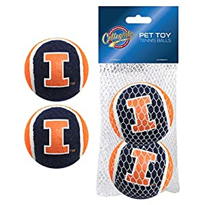 Pets First NCAA Illinois Illini Tennis Balls for Dogs & Cats – 2 Piece Set with Team Logo in Vibrant Team Color
