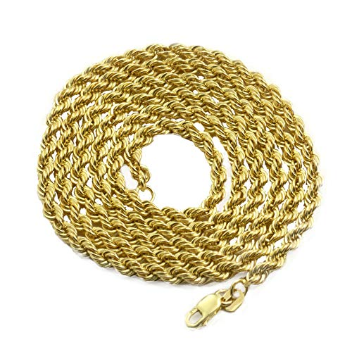 LOVEBLING 14K Yellow Gold 3mm Diamond Cut Rope Chain Necklace, Mens Womens with Lobster Lock (22)
