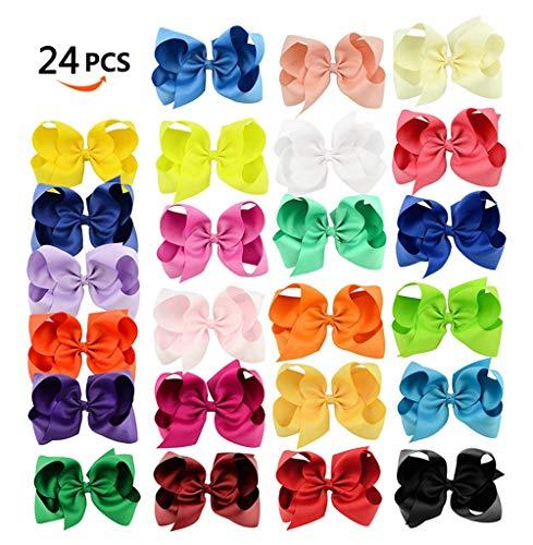 Solid Grosgrain Ribbon Hair Bow - RoterSee 24pcs 6