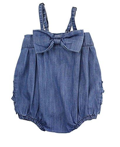 Bow Front Bubble (RuffleButts Infant / Toddler Girls Light Wash Denim Bow-Front Bubble Romper - Blue -)
