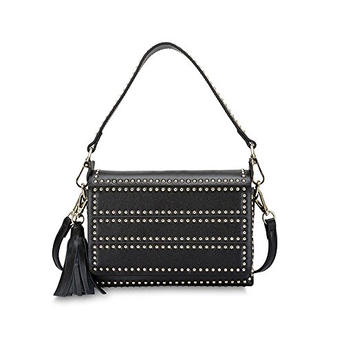 XDDB Tassel Package Small Shoulders Leather Mini Square Black Ladies Rivets Oblique Hand wfAw1rq