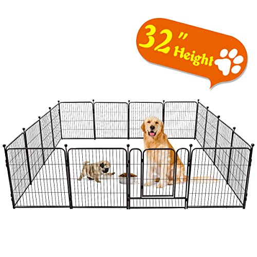 TOOCA Dog Pen 16 Panels RV Dog Fence Playpens for Dogs, 32H x 27L inches, Metal, Outdoor Indoor, Protect Design Poles, Foldable Barrier with Door, Black